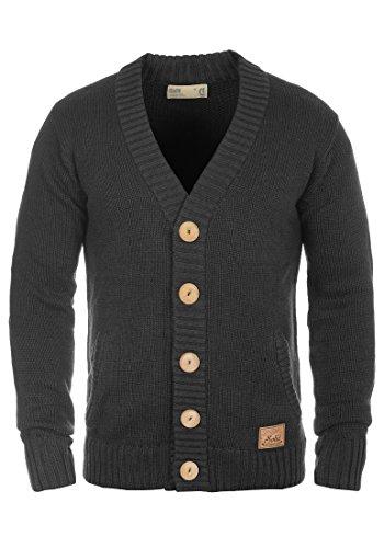 SOLID Payton Herren Strickjacke Cardigan Grobstrick mit V-Ausschnitt aus hochwertiger Baumwollmischung Meliert, Größe:M, Farbe:Dark Grey Melange (8288)