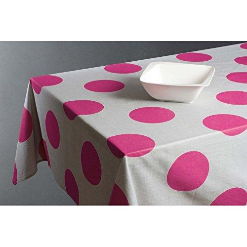 Nappe rectangulaire 145 x 240 cm - Coton enduit - Pois - Rose