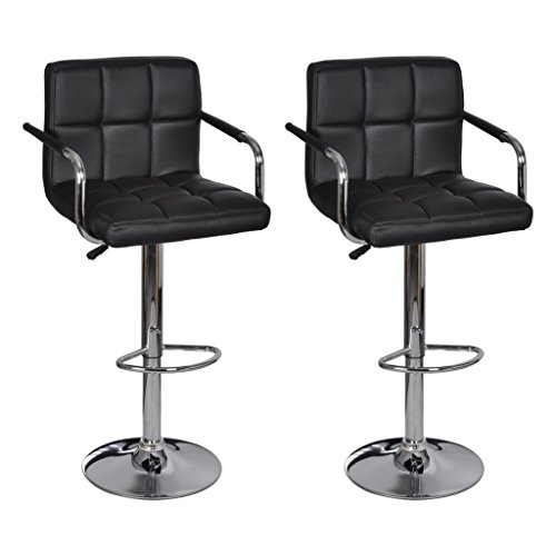vidaXL 2 x Barhocker mit Armlehne Sessel Drehstuhl Bar Hocker Barstühle schwarz (Hocker Polywood)