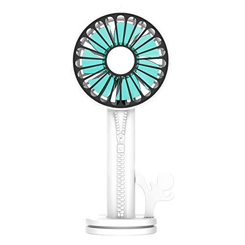 JINRU Mini-Lüfter, Handyhalter, Silent Portable, Einstellbare Windgeschwindigkeit USB Integriert Wiederaufladbar Für Büro- Und Outdoor-Sportreisen,White