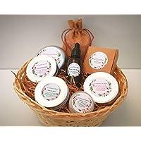 CESTA PREMIUM - Champú, acondicionador, jabon de cuerpo, jabón de cara, crema de manos, serum revitalizante, bálsamo labial - 100% ecológico y natural