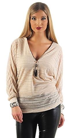 Mr. Shine® – Damen Langarmshirt Elegant Sweatshirt Bluse mit Reißverschluss V-Ausschnitt Pullover Oberteil Größe S, M, L, XL, XXL (L, Beige)