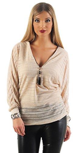Mr. Shine® – Damen Langarmshirt Elegant Sweatshirt Bluse mit Reißverschluss V-Ausschnitt Pullover Oberteil Größe S, M, L, XL, XXL (S, Beige) (Sexy Damen Trachten Shirt)