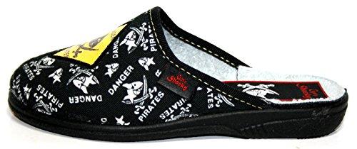 Capt'n Sharky Kinderschuhe Hausschuhe Pantoffeln Jungen Schwarz