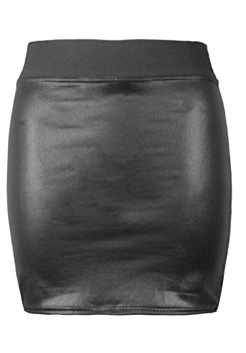 Womens Faux Leather Ladies Elastic Waistband Bodycon Stretch Wet Look Pencil Fitted Tube Midi Skirt