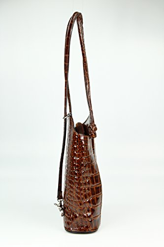 "BELLI ital. Ledertasche ""Belli Backpack"" 2in1 Rucksack Handtasche Schultertasche - Freie Farbwahl - 28x28x8 cm (B x H x T) Cognac lack"