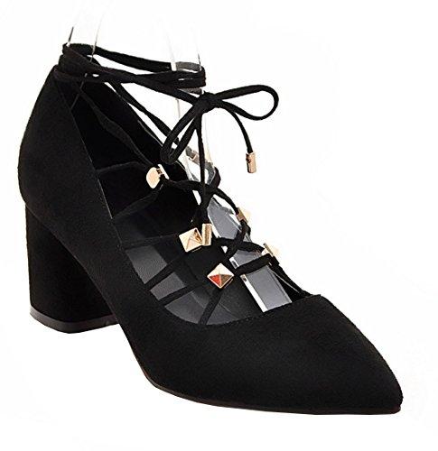 YE Damen Spitze High Heels Pumps mit Bequem Blockabsatz und Schnürung Wildleder Schuhe Schwarz