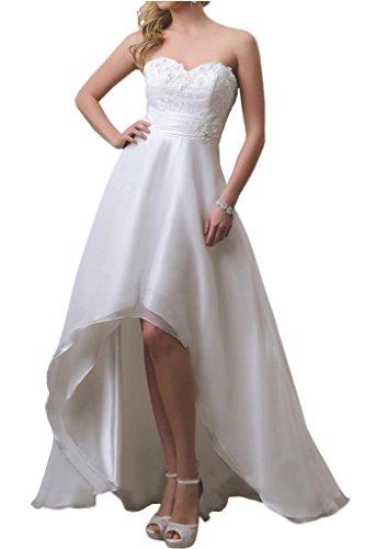 La_mia Braut Einfach Weiss Chiffon Traegerlos Hi-lo A-linie rock Hochzeitskleider Brautkleider Brautmode Lang -48 Weiss (Weißes Low Brautkleid High)