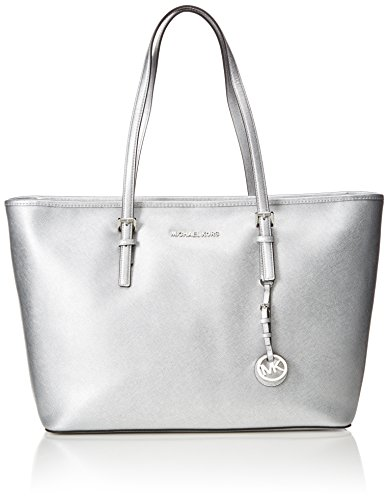 Michael Michael Kors Jet Set Medium Tote (Michael Kors Damen Medium Jet Set Travel Top-Zip Tote, Silber (Silver), 28x46x14 cm)
