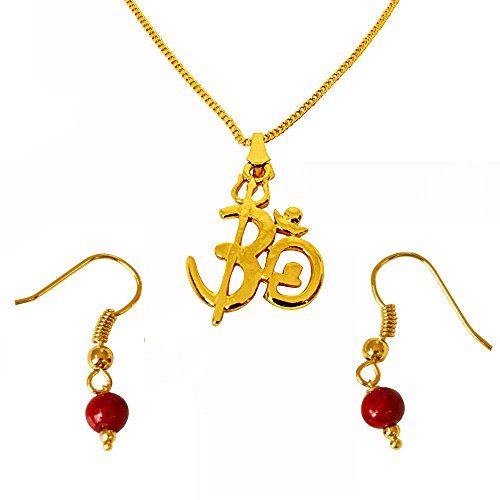 a17d81d185 Surat Diamonds OM Shivay Trishul Gold Plated Religious Pendant And Red  Shell Pearl Wire Earring Set