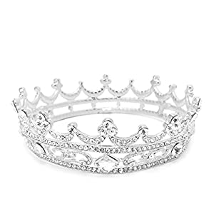 JAGETRADE rund, Tiara, Festzug, mit Strass, Haarschmuck, Hochzeit, Brautschmuck, Krone, Silberfarben