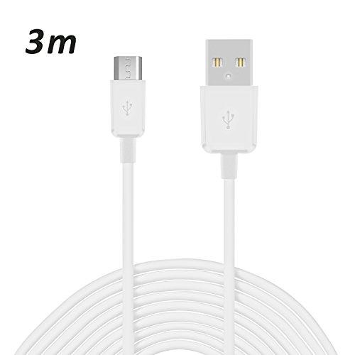 Preisvergleich Produktbild Original COVERLOUNGE - Micro USB Kabel / Datenkabel / Ladekabel [2.1 A] für alle LG Smartphones mit Micro USB Anschluss | Farbe: weiß | Länge: 3 Meter / 3m