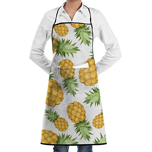 A Plump Pineapple. Adjustable Kitchen Chef Apron with Pocket & Extra-Long Ties,Men & Women Bib Apron Cute Apron for Cooking,Baking,Crafting,Gardening,BBQ Waitress Aprons Plump Chef Collection