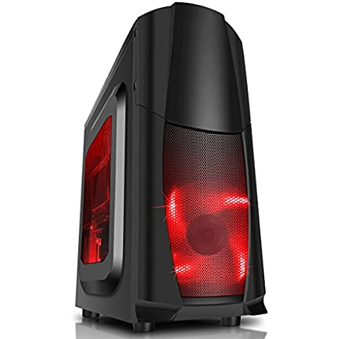 CiT Dragon 3 Caja midi con ventiladores azules led de 12 cm y rejilla lateral  Negro y rojo negro