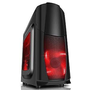 CiT - Custodia per PC fisso, Dragon 3, con ventola a LED blu, da 12 cm e aperture laterali. nero/rosso Black