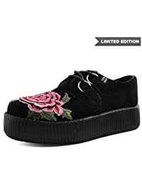 T.U.K. Shoes Women's Black Velvet 3D Embroidered Rose Viva High Sole Creeper