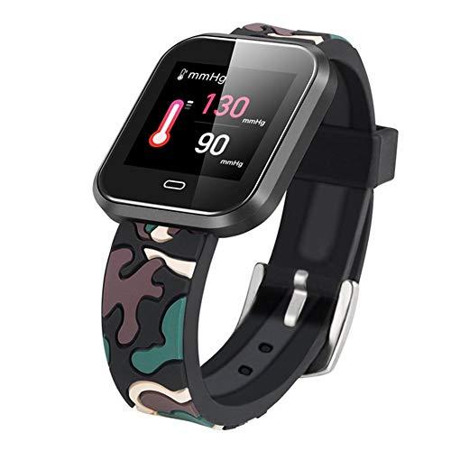 LJSHU Männer und Frauen Smart Sports Watch Herzfrequenz-Blutdruck-Druck Blut-Sauerstoff-Überwachung Fernbedienung Kamera Multi-Function Sports Armband,camouflageblack