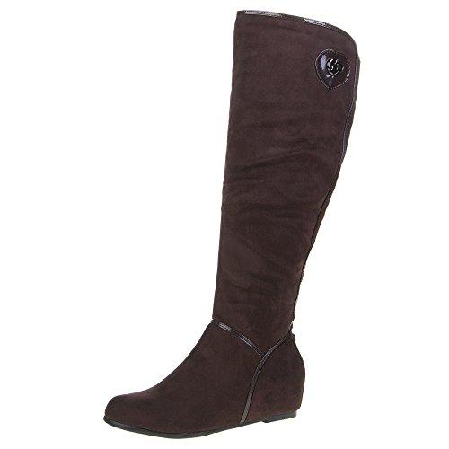 Damen Schuhe STIEFEL GEFÜTTERTE KEILABSATZ BOOTS Farben: Schwarz Braun Grau Hellbraun Größen: 36 37 38 39 40 41 Braun
