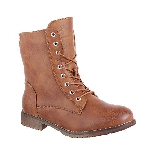 Elara Damen Stiefelette | Bequeme Worker Boots | Chunkyrayan 2018 C552-Camel-39