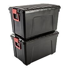 Iris Ohyama, lotto due scatole di stoccaggio fai da te - conservarla All SIA-110, di plastica, 110L, nero / rosso, 75 x 44,5 x 44,5 cm