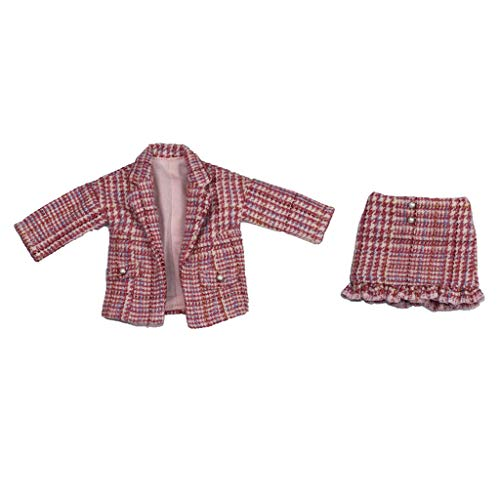 Unbekannt Baoblaze 2-teilig Mode Karierten Anzug Jacke Mantel & kurzes Rock für 1/6 Ball Jointed Doll Dress Up Zubehör