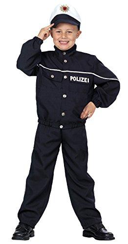 Polizist in dunkelblau für Jungen | Größe 140 | 3-teiliges Polizei Kostüm mit Mütze | Gesetzeshüter Faschingskostüm für Kinder | Schutzmann für Karneval