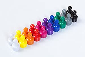 Super Strong Neodymium Push Pin Skittle Magnets. Assorted Colours, 120 x 20 mm for Office & Fridge. Pack of 20