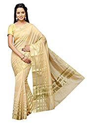 Pavechas Banarasi Silk Cotton Blend Solid Zari Saree - TF Dno 1066 Beige MK2692