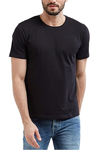 WYO Men's Cotton Solid Plains Round Neck Half Sleeve T-Shirt(Medium, Black)