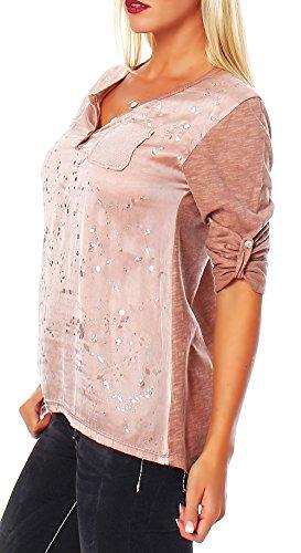 malito Shirt 0809 Bluse Tunika Silberspritzer Pailletten Brusttasche verschiedene Farben One Size Damen Rosè
