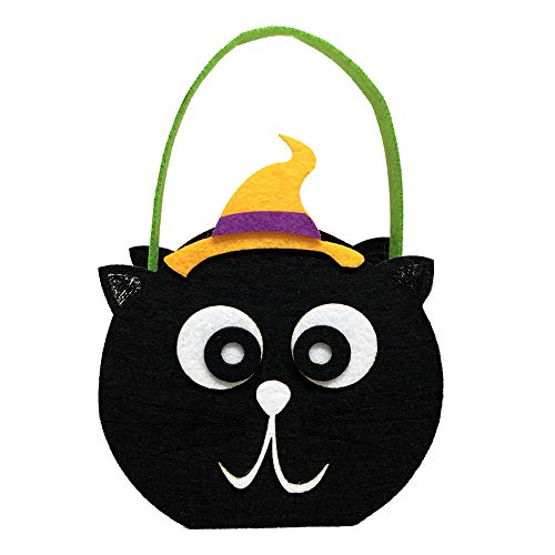 Happy Halloween Party Bag Cute Trick or Treat Candy Storage Tote Bag Cute Cartoon Sugar Tote Bag Baskets with Handle for Kids Kleinkind Jungen Mädchen schwarze katze approx.15 * ()