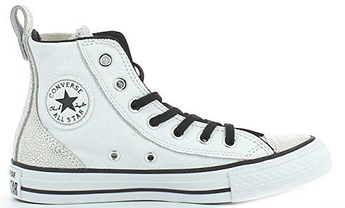 CONVERSE 555171C ALL STAR HI WHITE SNEAKERS Femme Blanc/argenté