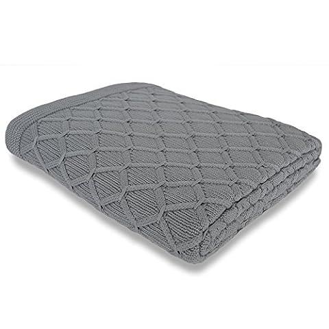 casa pura® Oak Chunky Cable Knit Slate Grey Luxury Fleece Throw   100% Cotton - 130x170cm