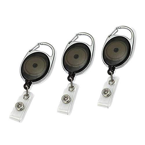 Lot de 3 Portes badge enrouleur noir mousqueton rétractable avec clip attache ceinture - Avec yoyo et cordon de 62cm (3)