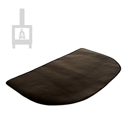 Alfombra ignífuga semicircular protectora de suelo para estufa y chimenea (80 x 50 cm)