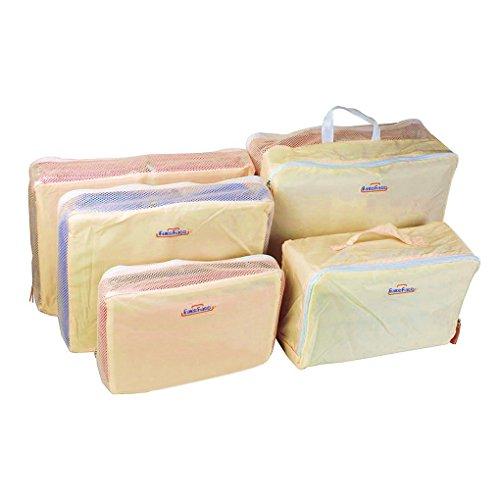 Caribee-Set da 5 contenitori per valigia trolley-Organizzatore per vestiti, gli organizzatori per bagagli, da viaggio, Organiser, colore: Rosa