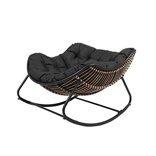 Rocking chair Hollywoodschaukel, Einzelstuhl, Rattan, Kissen, Siesta, feuchtigkeitsbeständig, Freizeitstuhl