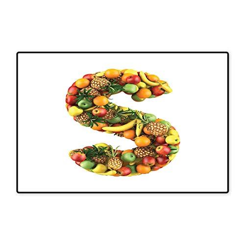 S mit Feuerbuchstaben und Feuerbuchstaben für Badezimmer, 40,6 x 61 cm, Hellbraun/Schwarz / Orange 16x24 inch (40cm x 60cm) Color05 ()