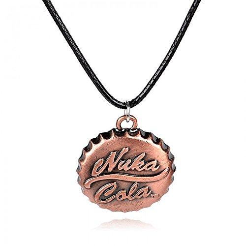Halskette (Leder) Fallout Nuka Cola Wappen Amulett Accessoires Design Schmuck in bronze, Kette Halsanhänger Anhänger Halsschmuck