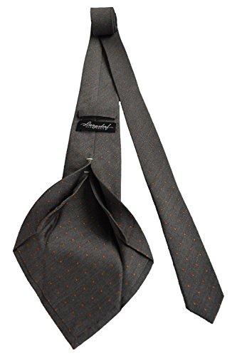 Hochwertige Qualitäts-Krawatte in grau mit orangenen Punkten hergestellt in Handarbeit als Seven-Fold Krawatte mit Krawattenbox von LANGSDORF (Seide Krawatte 7 Falten)