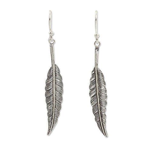 Novica diseño de plumas de plata de ley 925pendientes colgantes, vuelo'