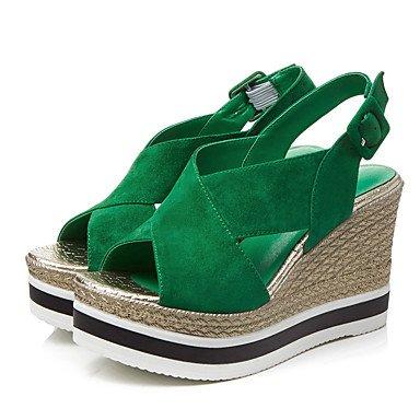 Sommer Schuhe Damen Sandalen Büro Kleid Lässig-Kaschmir-Keilabsatz-Komfort Club-Schuhe-Schwarz Grün Green