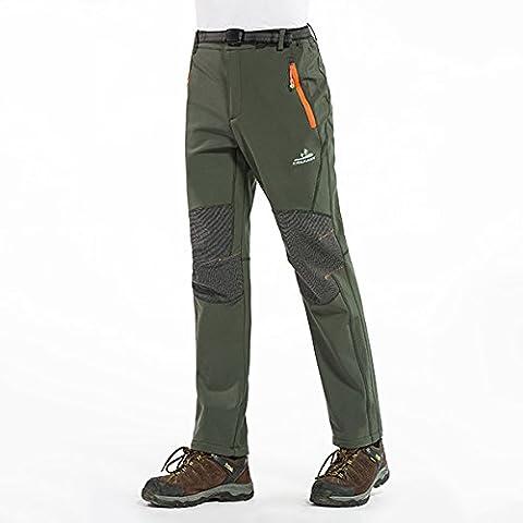 Alamor Hiver Extérieur Épais Pantalons Chauds Polaires Homme Eau-Répulsif Camping Escalade Randonnée Pantalon Soft Shell-Vert-Xl