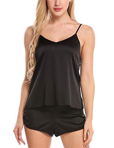 Skine Damen Schlafanzüge Satin Kurz Sexy Wäsche Nachtwäsche Solid Pyjamas Sets Chemises Cami Top & Shorts Verstellbarer Träger 2 Stück
