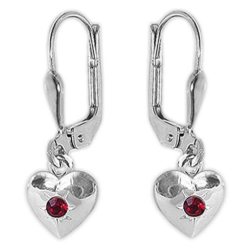 Clever Schmuck Silberne Kinder Ohrhänger 20 mm mit Mini Herz 5 mm geschlossen und Zirkonia rubinrot glänzend STERLING SILBER 925 für Mädchen