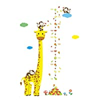 SODIAL Cartoon Measure Wall Stickers For Kids Rooms Giraffe Monkey Height Chart Ruler Decals Nursery Home Decor