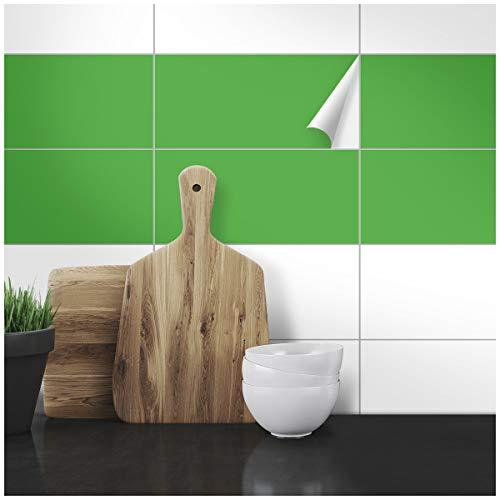 Wandkings Fliesenaufkleber - Wähle eine Farbe & Größe - Hellgrün Seidenmatt - 10 x 20 cm - 50 Stück für Fliesen in Küche, Bad & mehr
