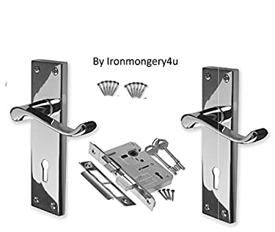 CHROME VICTORIAN LEVER LOCK HANDLE DOOR PACK by ironmongery4u - low-cost UK door handle shop.