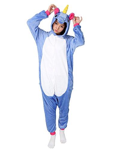 Einhorn Pyjamas Kostüm Jumpsuit Tier Schlafanzug Erwachsene Unisex Fasching Cosplay Karneval (Medium, (Für Pyjama Erwachsene Kostüme)