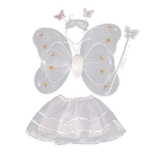 Mädchen Plüsch Flügeln Kostüm Schmetterlings - Miyanuby Schmetterling Kostüm für Kinder Mädchen Feenflügel Schmetterlingsflügel Verkleiden Halloween Party Kostüm 4-Teiliges Set
